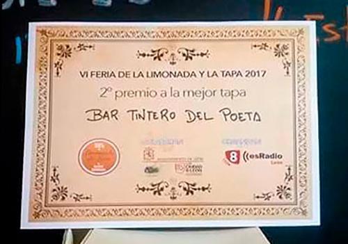 El Tintero del Poeta ha obtenido el 2º Premio en VI Feria de la Limonada y la Tapa 2017 - 2