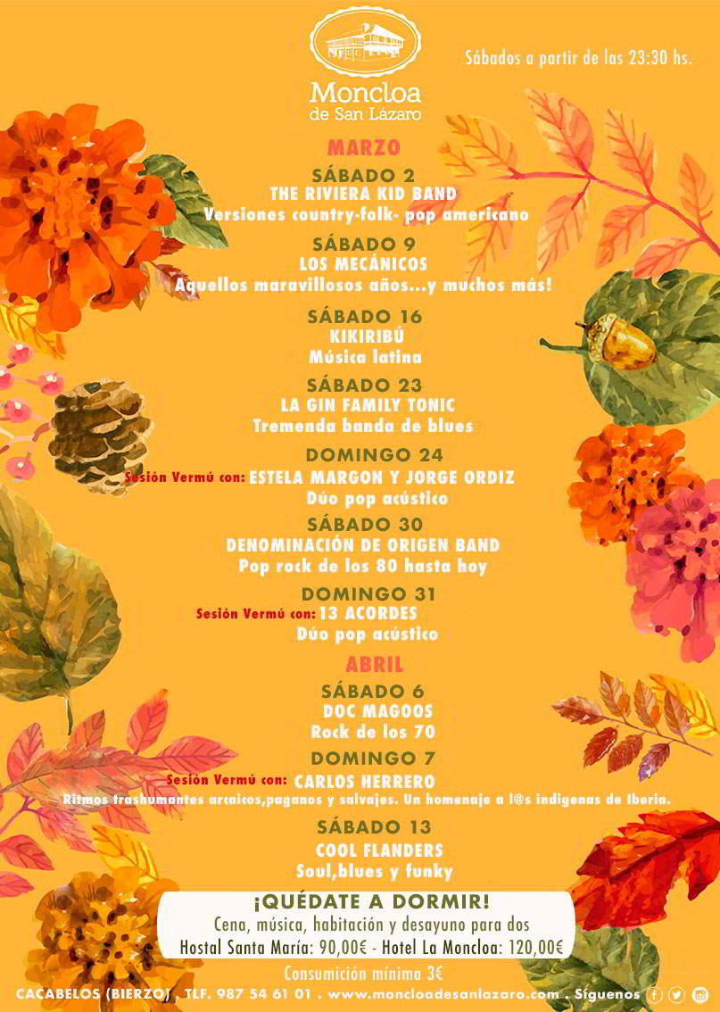 Calendario de conciertos Marzo Abril 2019 - La Moncloa de San Lázaro
