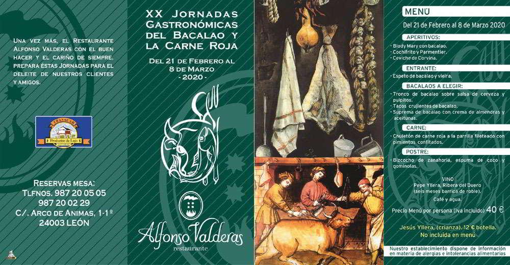 XX Jornadas Gastronómicas del Bacalao y La Carne Roja - Restaurante Alfonso Valderas