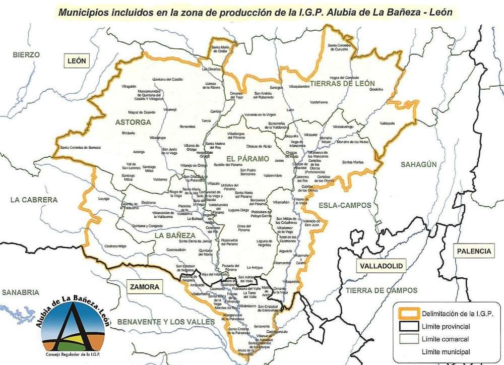 Mapa delimitación IGP Alubia del la Bañeza-León
